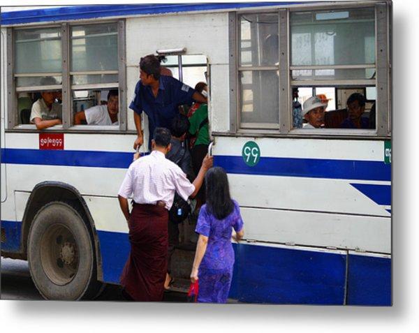 Burmese Using Public Transport Yangon Myanmar Metal Print by PIXELS  XPOSED Ralph A Ledergerber Photography
