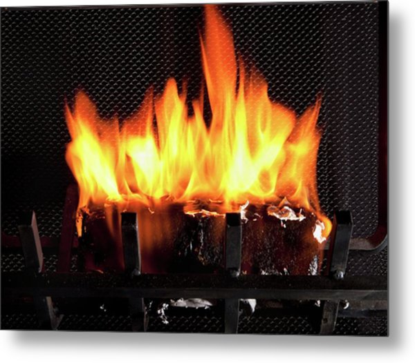 Burning Biofuel Log Metal Print by Peggy Greb/us Department Of Agriculture