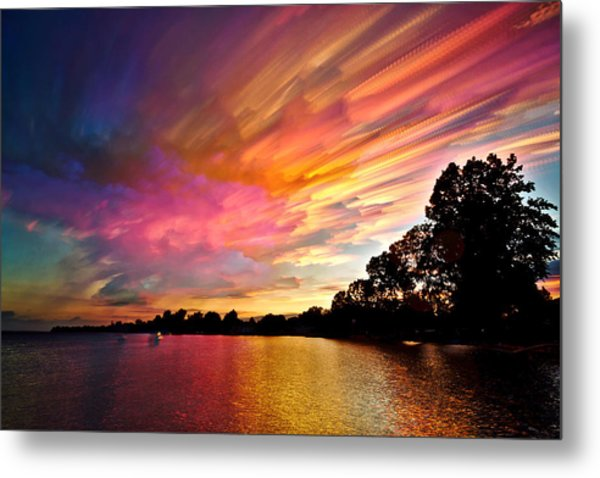 Burning Cotton Candy Flying Through The Sky Metal Print