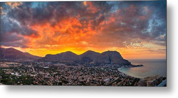 Burning Sicilian Sunset Metal Print by Viacheslav Savitskiy