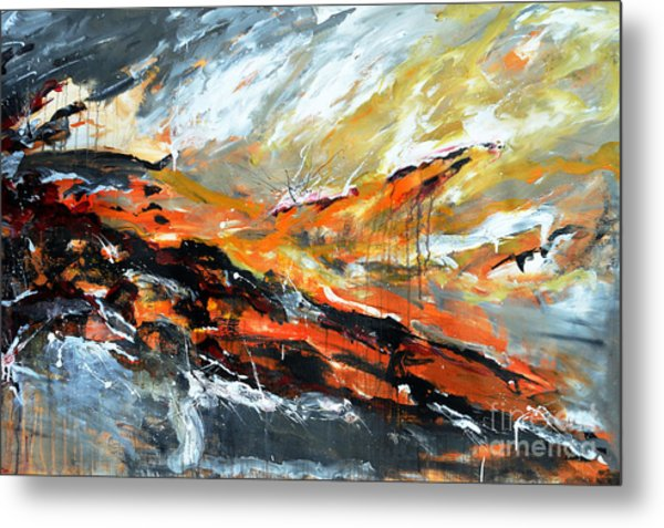 Burning Sky- Abstract Metal Print by Ismeta Gruenwald