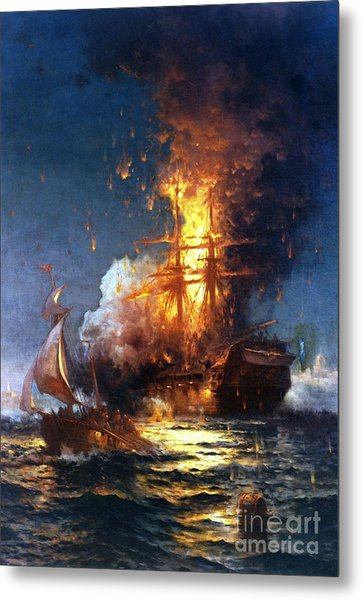 Burning The Uss Philadelphia Metal Print