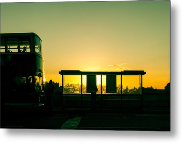 Bus Stop At Sunset Metal Print