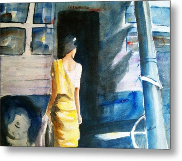 Bus Stop - Woman Boarding The Bus Metal Print