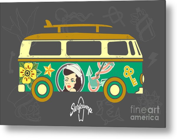 Bus With Surfboard Metal Print
