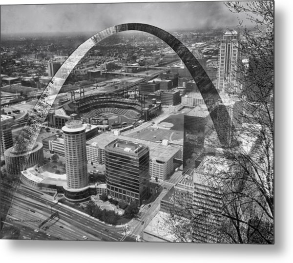 Busch Stadium Bw A View From The Arch Merged Image Metal Print