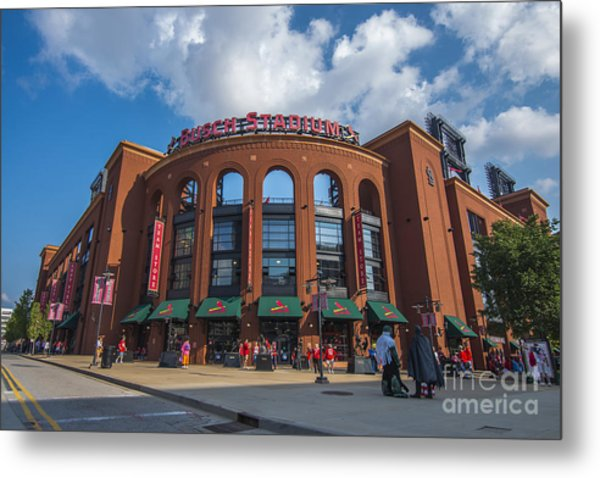Busch Stadium Clouds Metal Print