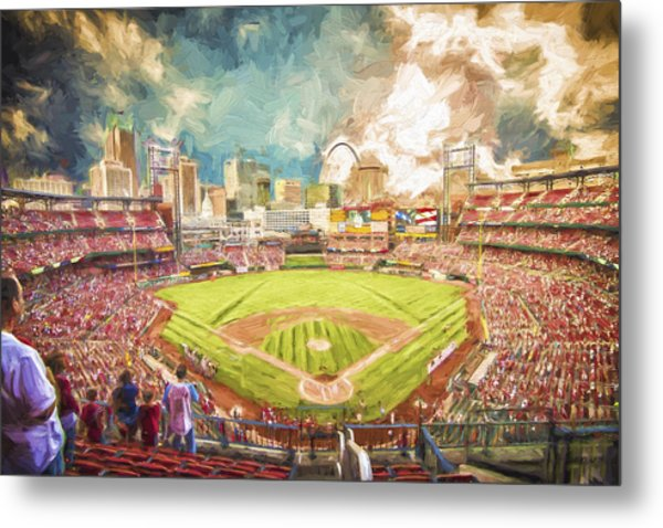 Busch Stadium St. Louis Cardinals Day Paint Metal Print