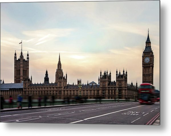 Buses And Tourists Cross The Metal Print by Tatyana Tomsickova Photography