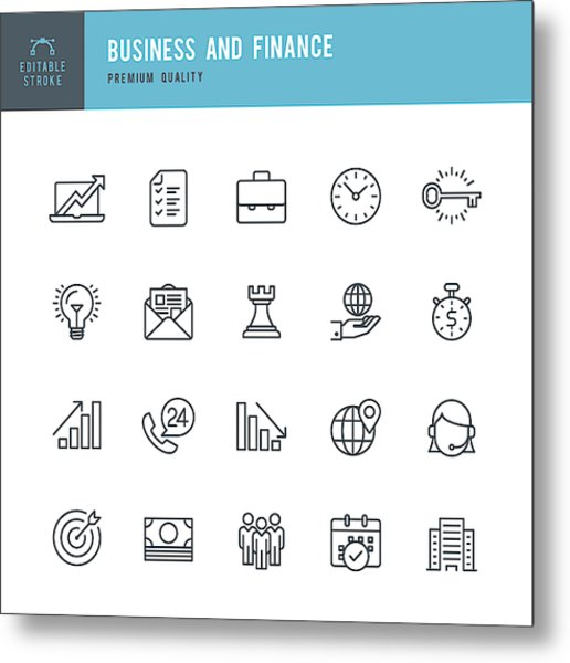 Business And Finance  - Thin Line Icon Set Metal Print by Fonikum