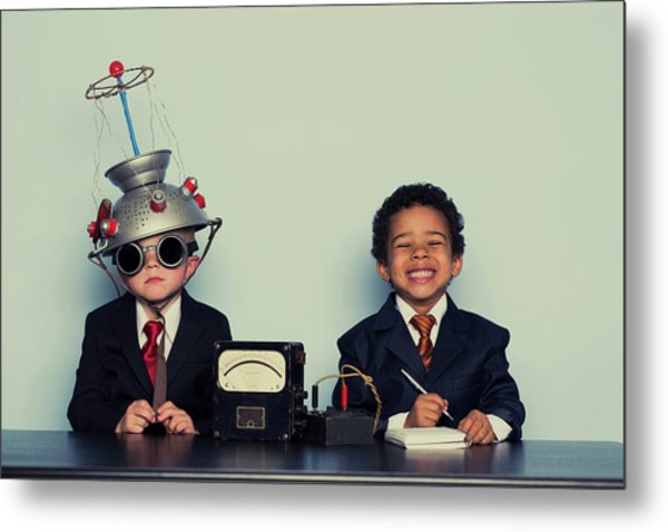 Business Boys Conduct Interview In Metal Print by Richvintage