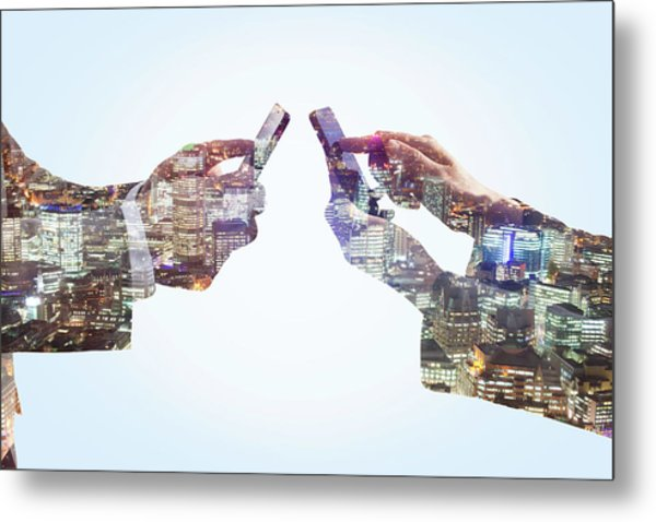 Business Man And Woman Using Smart Metal Print by Tim Robberts