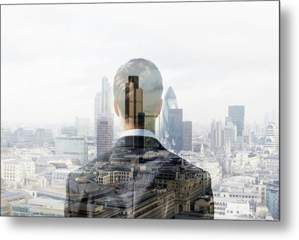 Business Man Looking Towards The City Metal Print by Tim Robberts