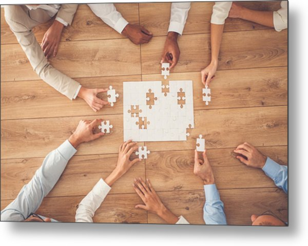 Business People Finding Solution Together At Office Metal Print by Fotostorm