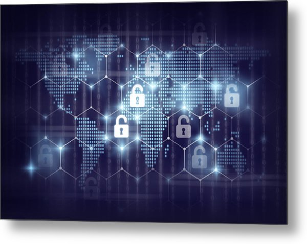 business technology securities concept,Security key lock icon digital display over the world map and Hexagon shape on matrix digital number technology and dark blue background Metal Print by Photographer is my life.