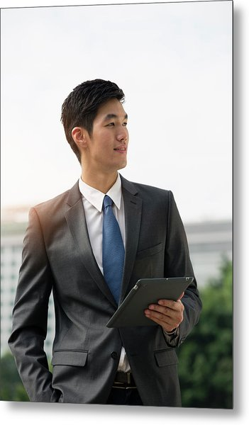 Businessman Holding Digital Tablet Metal Print by Eternity In An Instant