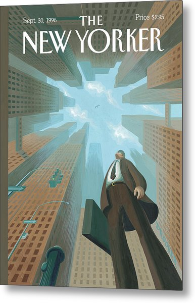 Businessman Looks Up At Tall Skyscrapers Metal Print