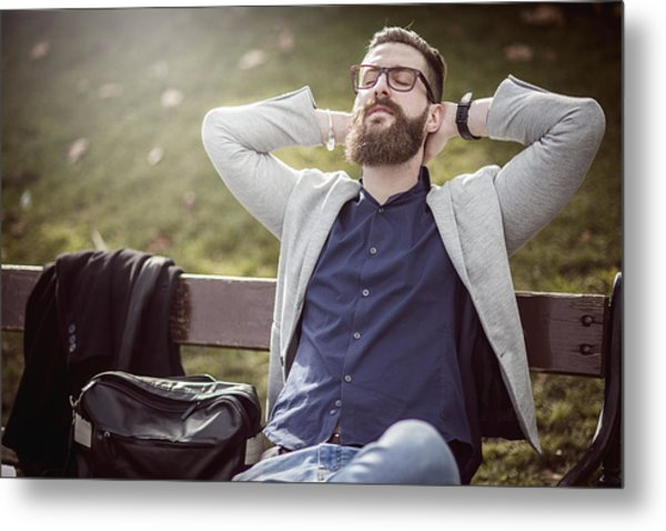 Businessman Relaxing On The Bench After Work Metal Print by DaniloAndjus