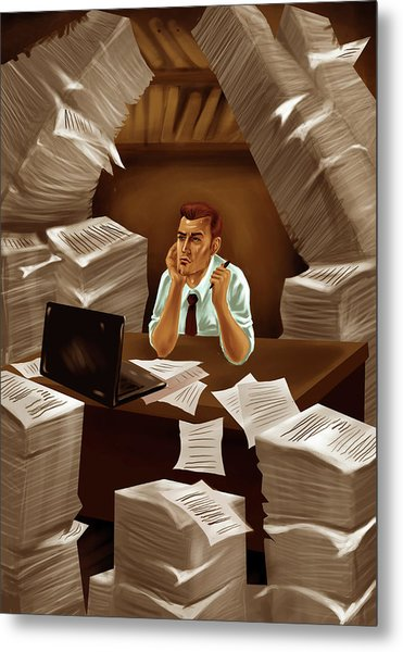 Businessman With Heap Of Papers Metal Print