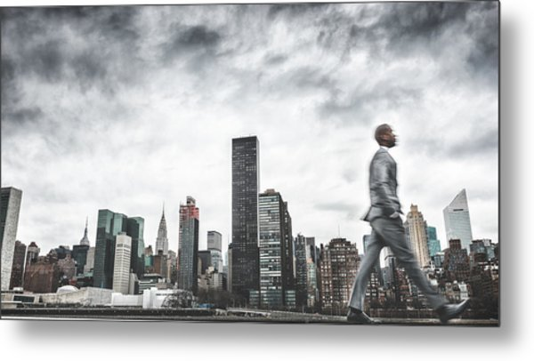 Busy Business Walking Fast On New York Metal Print by Franckreporter