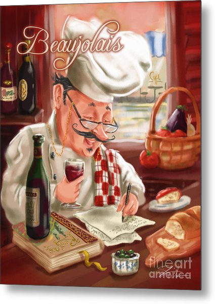 Busy Chef With Beaujolais Metal Print