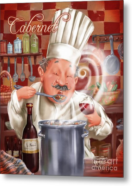 Busy Chef With Cabernet Metal Print