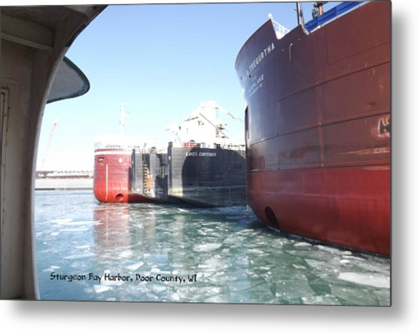 Busy Harbor Parking Metal Print
