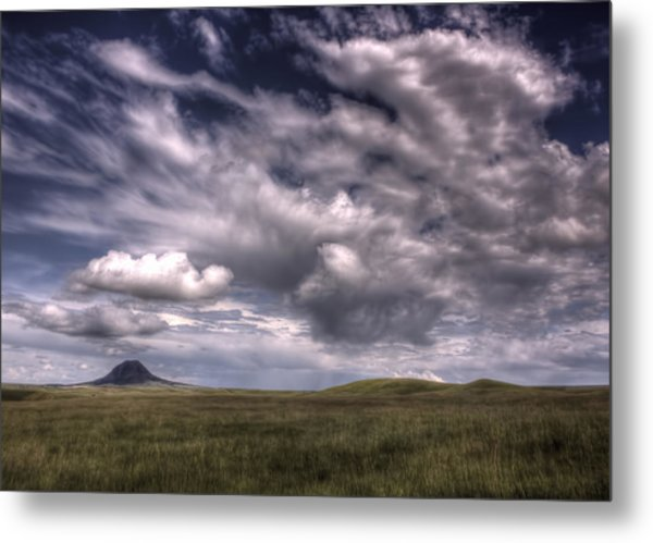 Butte In The Shadows Metal Print