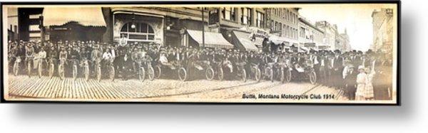 Butte Motorcycle Club 1914 Sepia Tone Metal Print