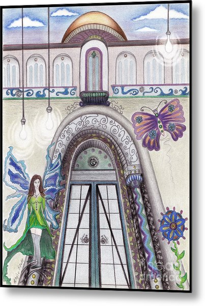 Butterflies And Gears Metal Print by Angie Staft