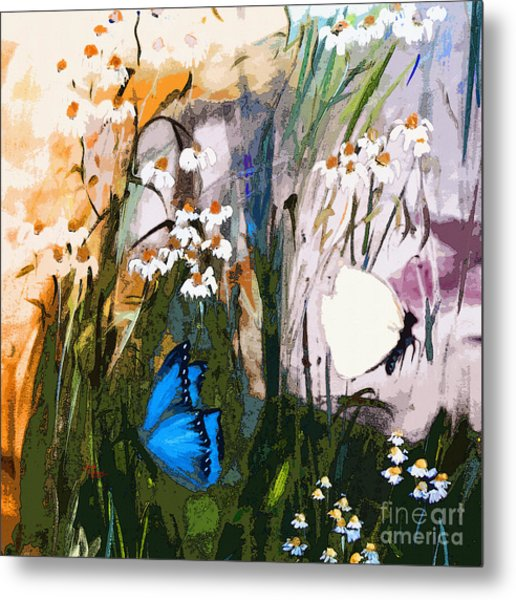 Butterflies In Chamomile Metal Print