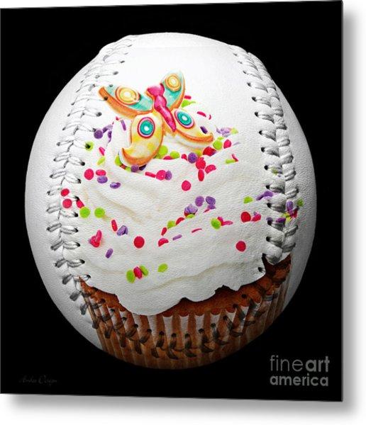 Butterfly Cupcake Baseball Square Metal Print