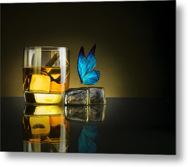 Butterfly Drink Metal Print