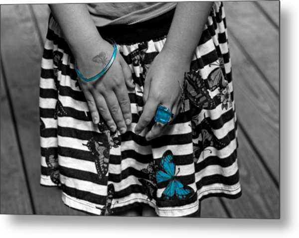 Butterfly Girl Metal Print
