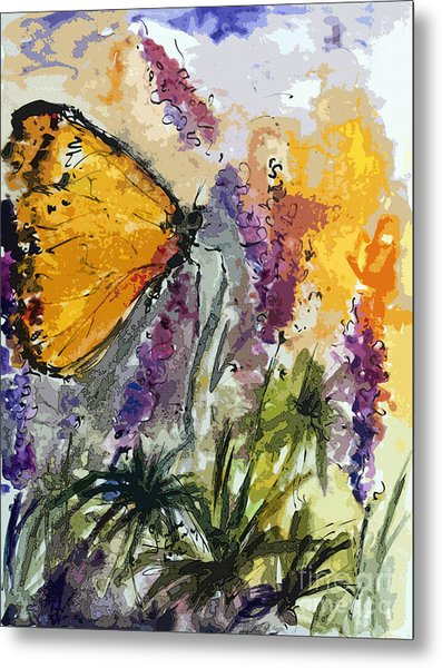 Butterfly On Lupines Metal Print