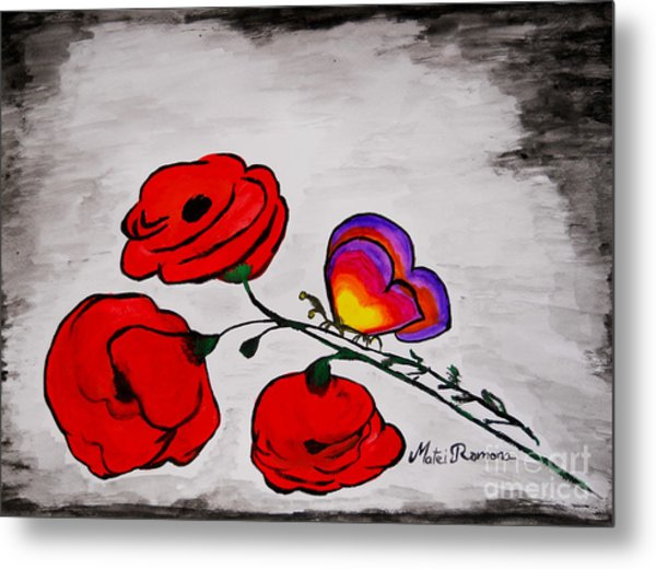 Butterfly Poppies Metal Print