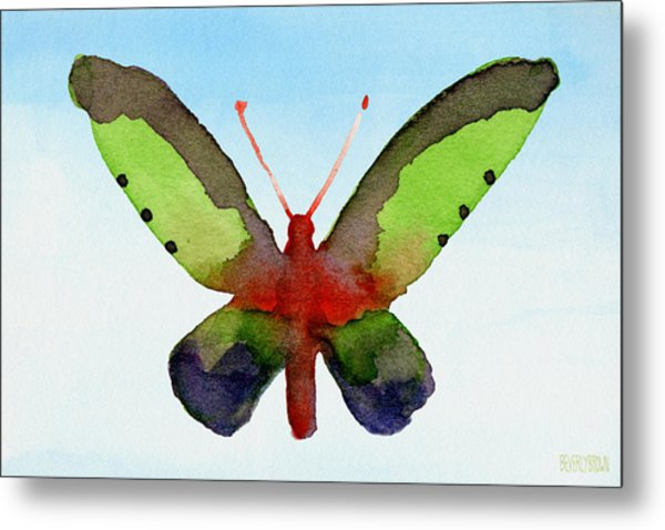 Butterfly Purple And Green Watercolor Art Print Metal Print