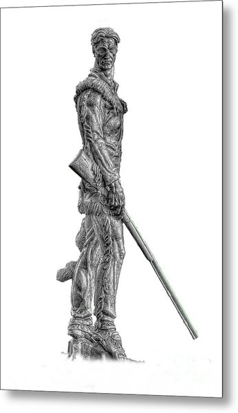 Bw Of Mountaineer Statue Metal Print