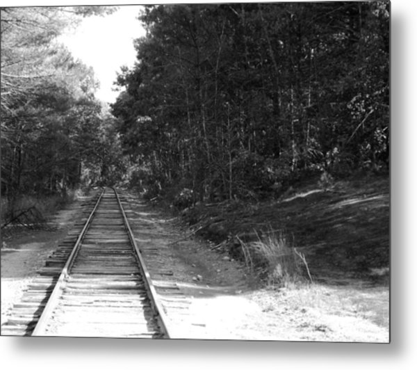 Bw Railroad Track To Somewhere Metal Print