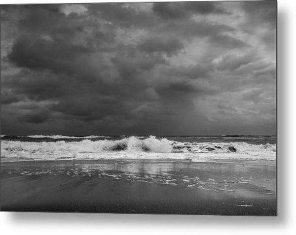 Bw Stormy Seascape Metal Print