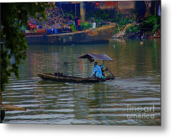 By The Flower Boat Metal Print