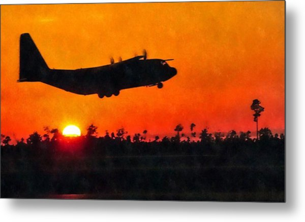 C-130 Sunset Metal Print
