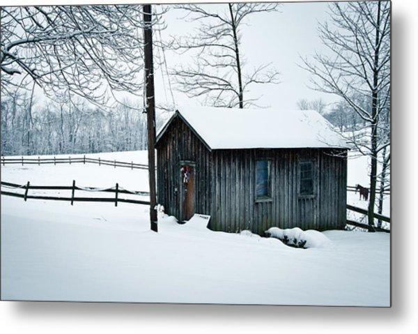 Cabin In Snow Metal Print by Nickaleen Neff