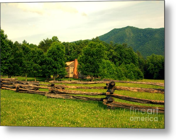 Cabin In The Meadow Metal Print