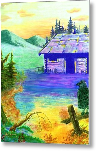 Cabin In The Woods Metal Print by Brad Simpson