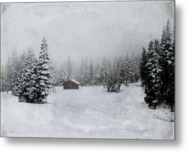 Cabin In The Woods-textured Metal Print