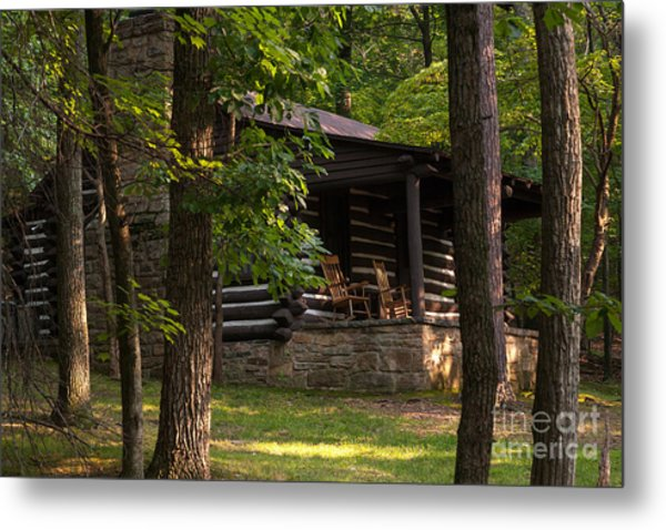 Cabin In The Woods At Lost River State Park In West Virginia Metal Print By  William