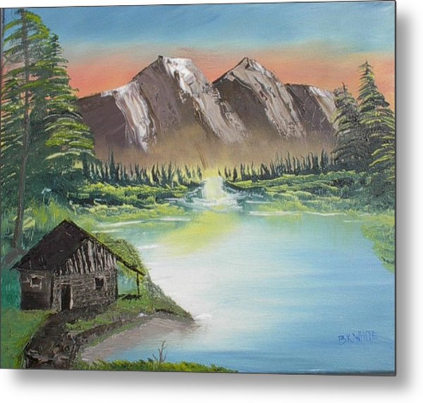 Cabin On The Lake Metal Print by Brian White