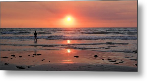 Cable Beach At Sunset With Figure Metal Print