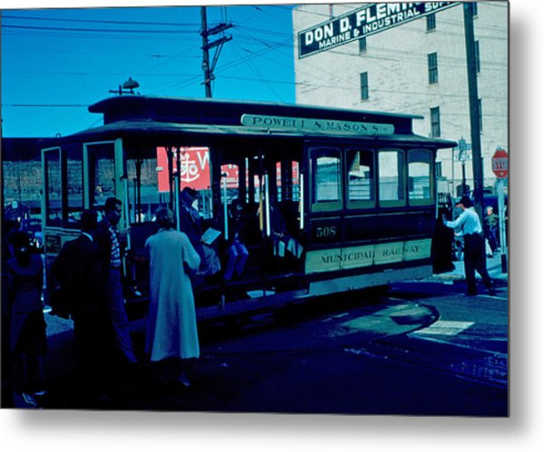 Cable Car 1955 Metal Print by Cumberland Warden